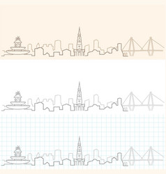 Charleston hand drawn skyline vector