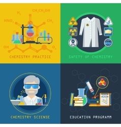 Chemistry 2x2 design concept set vector