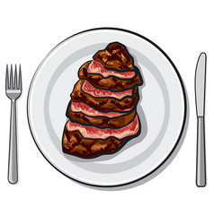 cooked beef steak vector image vector image