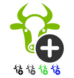 Cow add flat icon vector
