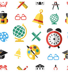 Digital green red yellow school icons vector