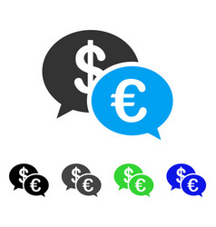 Euro transaction messages flat icon vector