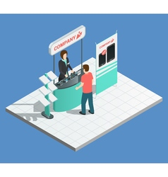 Exhibition promotion stands isometric composition vector image vector image