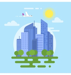 flat style of modern city Plane and buildings vector image vector image