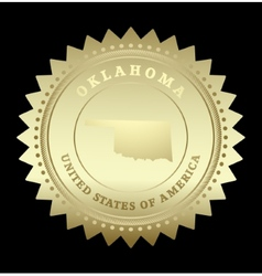 Gold star label oklahoma vector