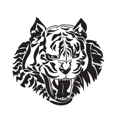 line art of tiger head on white background vector image vector image