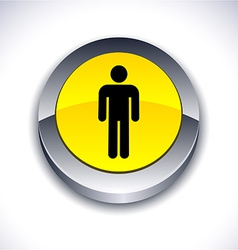 Male 3d button vector image