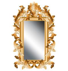 mirror golden frame realistic 3d volume vector image