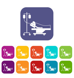 Patient in bed on a drip icons set vector