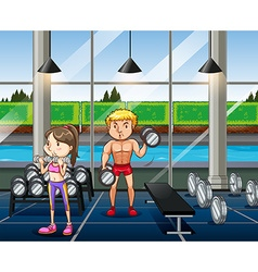 People exercising in the gym vector image vector image