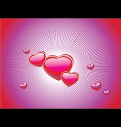 Pink glossy hearts vector image