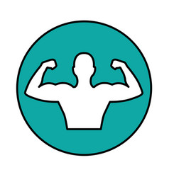Strong man figure icon vector