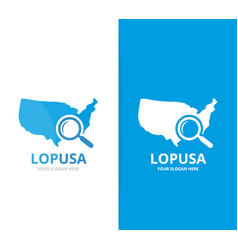 usa and loupe logo combination america vector image vector image