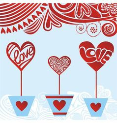 Valentines day card hearts love vector image vector image