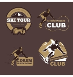 Winter sports snowboarding and skiing club vector
