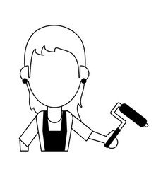 Woman holding paint roller avatar icon image vector