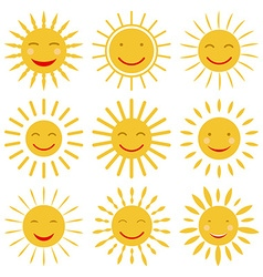 Cute hand drawn sun icons with smile vector