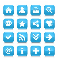 Blue basic sign rounded square icon web button vector