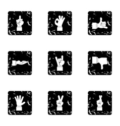 Communication gestures icons set grunge style vector