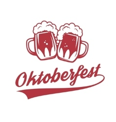 Octoberfest two vintage beer mug isolated on vector