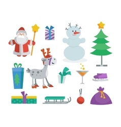Set of objects for creation new year greeting card vector