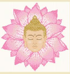 Buddha head and lotus mosaic vector