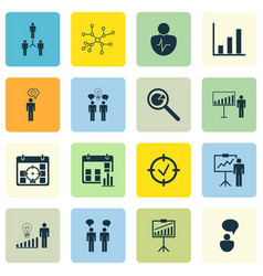 Set of 16 board icons includes co-working vector