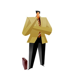 Close-up of man standing with suitcase vector