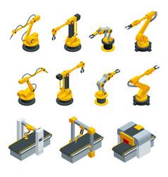 Isometric set of robotic hand machine tool at vector