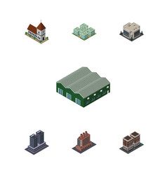 isometric urban set of company industry chapel vector image