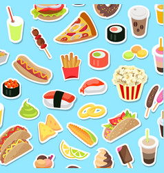 Fast and junk kinds of food scattered on blue vector