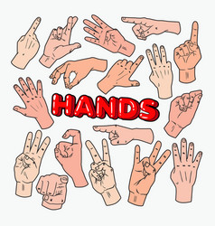 Pop art male hands gesturing different signs vector
