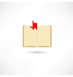 Open boook with hand and bookmark vector