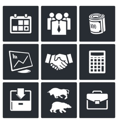 Financial exchange icon set vector