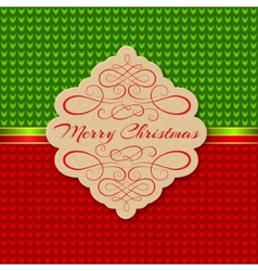 Knitted background with christmas label greeting vector