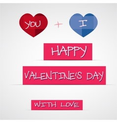 Bright 2015 valentine s day card with long shadow vector