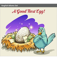 English idiom showing a nest with money vector