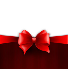 Invitation card with red holiday ribbon and bow vector