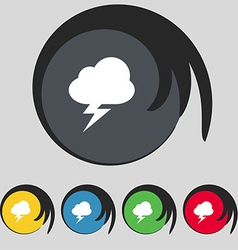 Storm icon sign symbol on five colored buttons vector