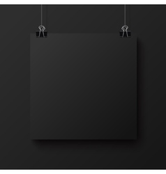 Black blank square sheet of paper mock-up vector