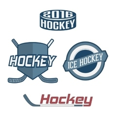 Set of colorful hockey team labels vector
