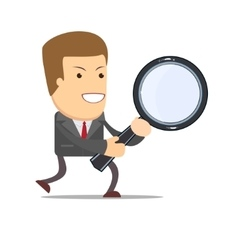 Businessman with a magnifying glass in his hands vector