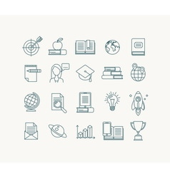 Education and learning line icons set vector