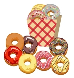 Set multi-colored donuts vector