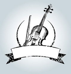 Vintage label with violin vector