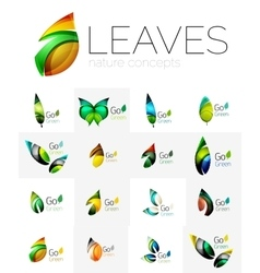 Futuristic design eco leaf logo set vector