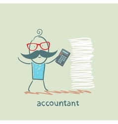 accountant with a calculator and a stack of vector image vector image