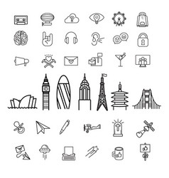 around the world international icons vector image