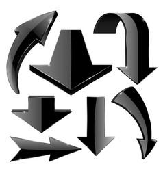 Arrows set black web icons vector