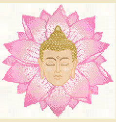 buddha head and lotus mosaic vector image